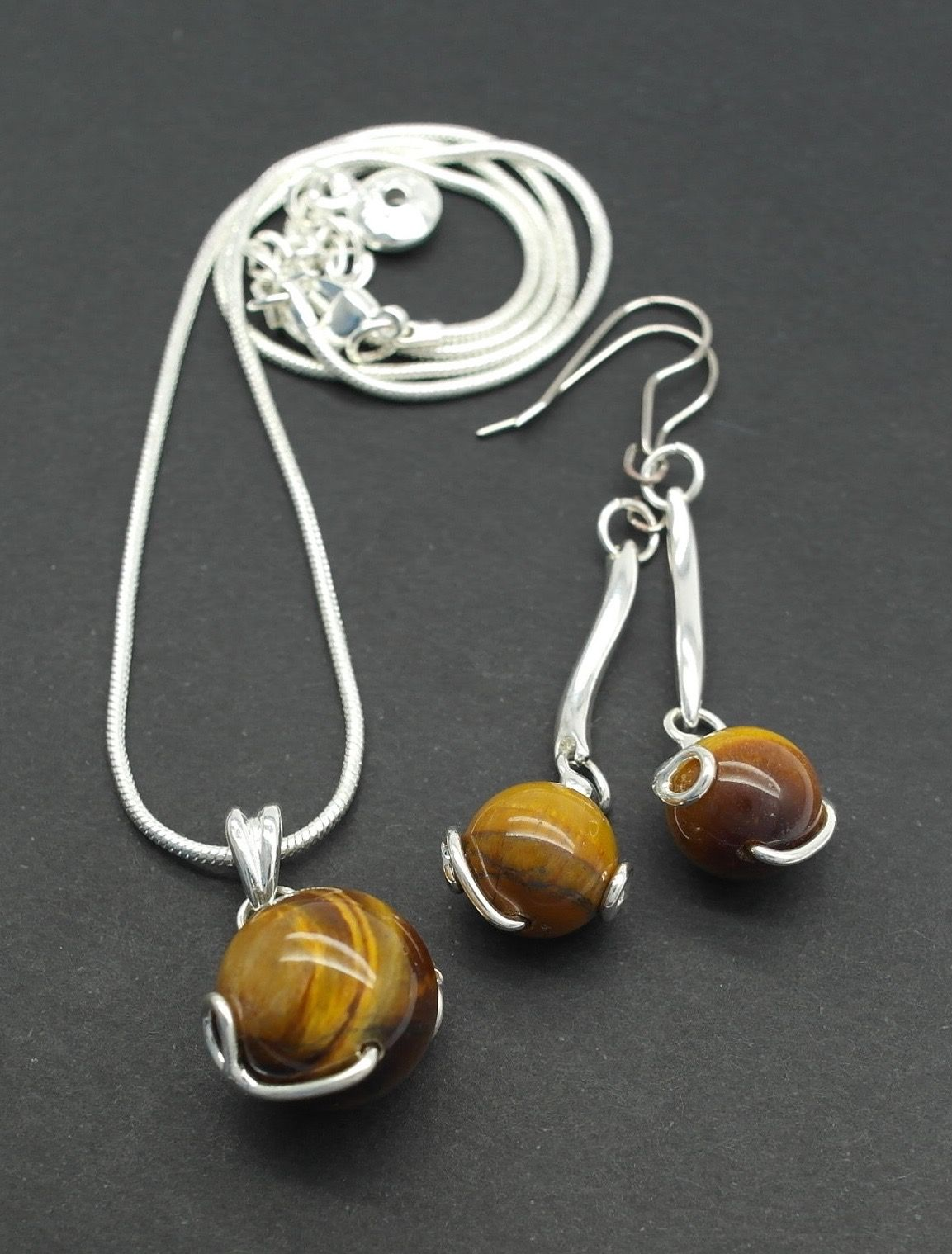 Tiger S Eye Stone Ball Drop Dangle Earrings Amp Necklace Set